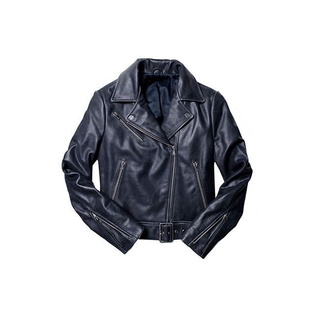 Kenneth Cole New York Tough Girl Belted Leather Jacket