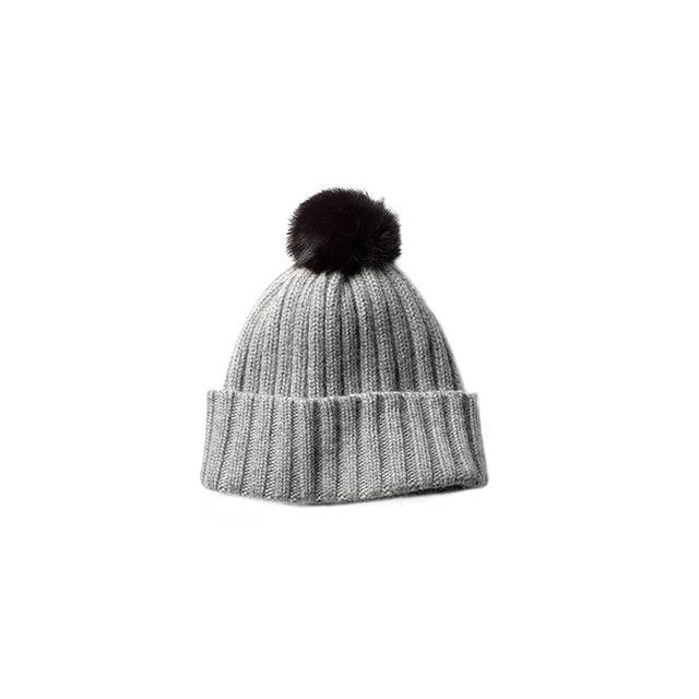 Kenneth Cole New York Rib Knit Pom-Pom Hat