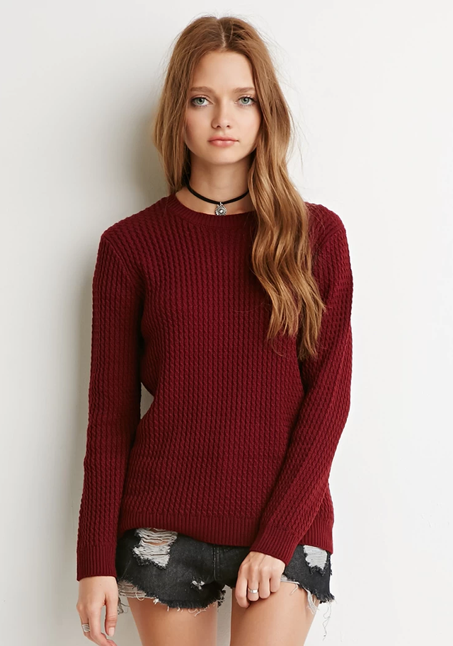 Forever 21 Ribbed Cable Knit Sweater