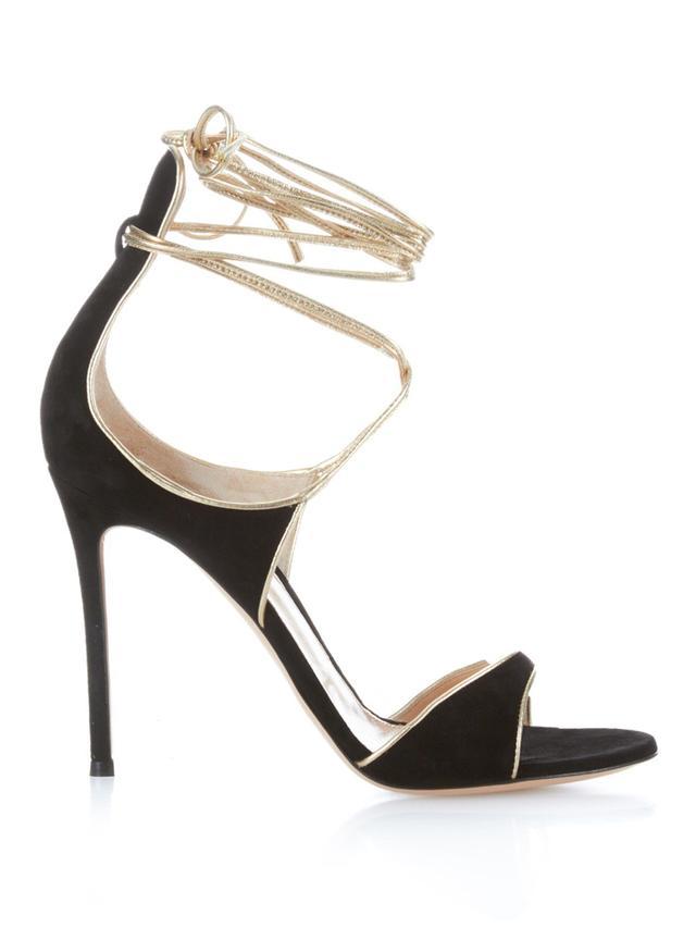 Gianvito Rossi Suede Ankle-Wrap Stiletto Heels