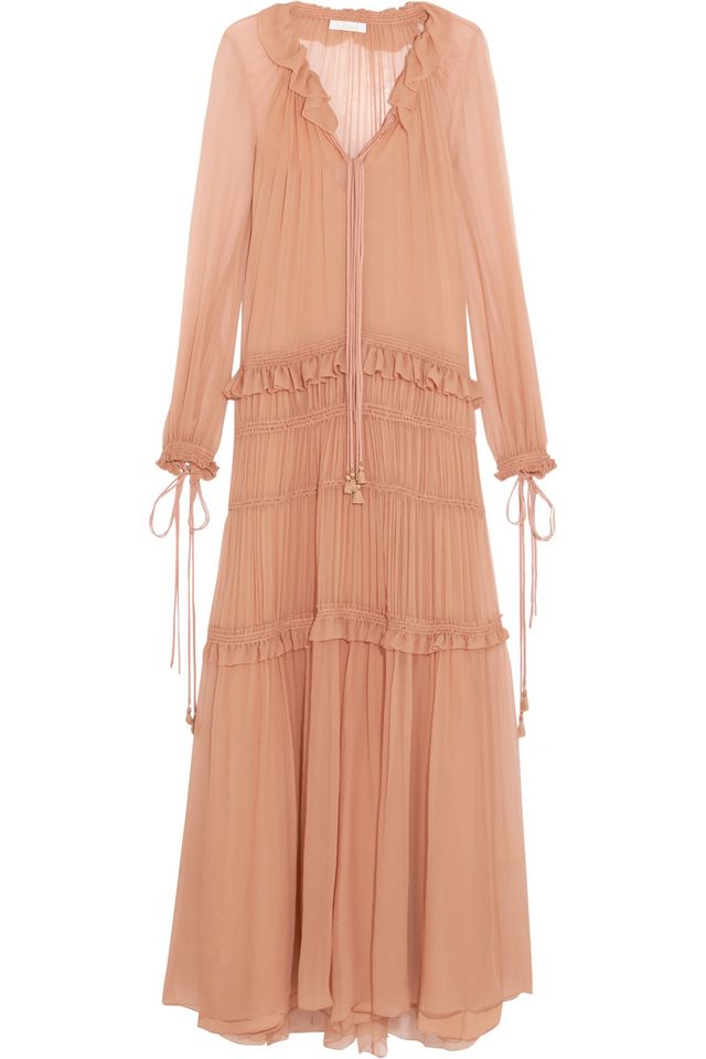 Chloé Plissé Silk-Chiffon Maxi Dress