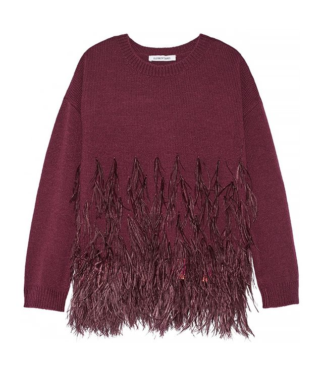 Elizabeth and James Feather-Trimmed Sweater