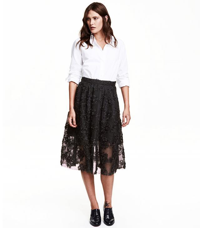 H&M Chiffon Flowers Skirt