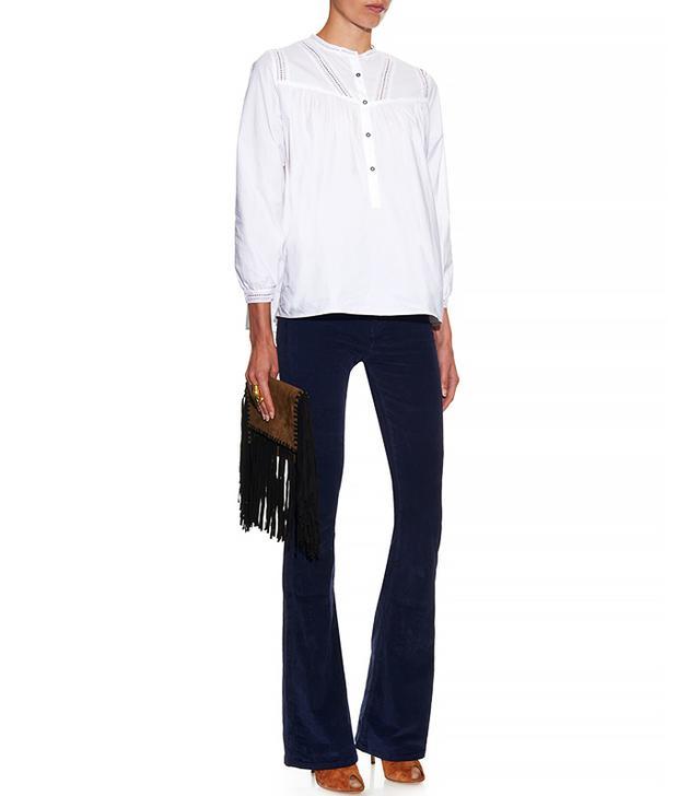 MiH Jeans Marrakesh Mid Rise Kick Flare Velvet Trousers