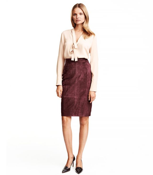 H&M Suede Pencil Skirt