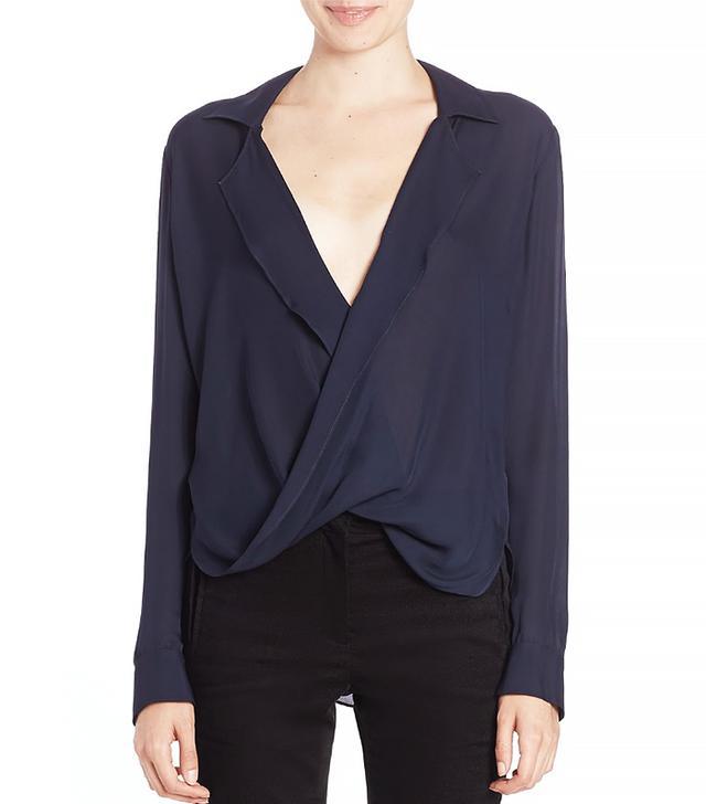 L'Agence Rita Drape Front Silk Blouse