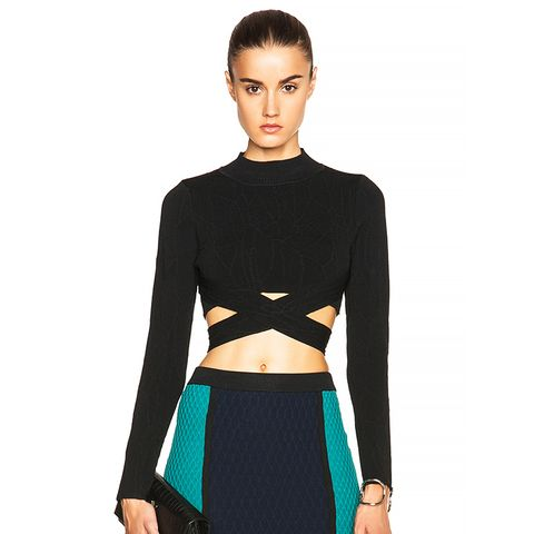 Wrap Spill Turtleneck Sweater
