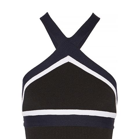 Cropped Ribbed Stretch Knit Halter Top