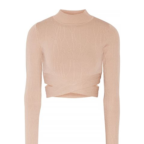 Cutout Textured Stretch Knit Turtleneck Top
