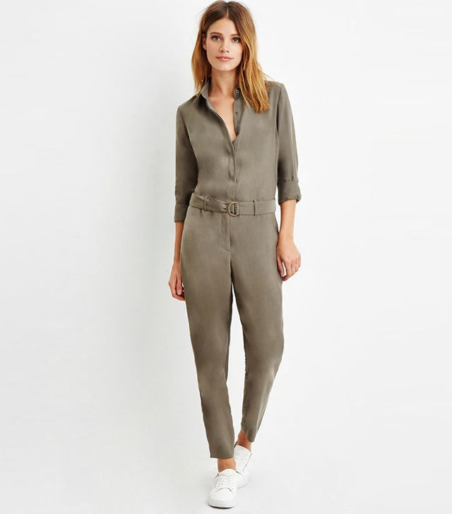 Forever 21 Contemporary Belted Button-Front Jumpsuit