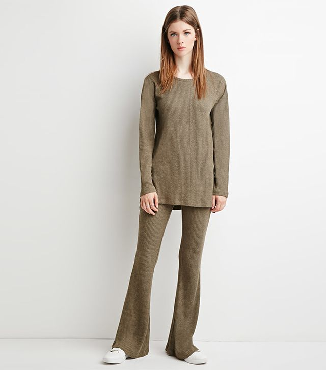 Forever 21 Marled Knit Flare Pants