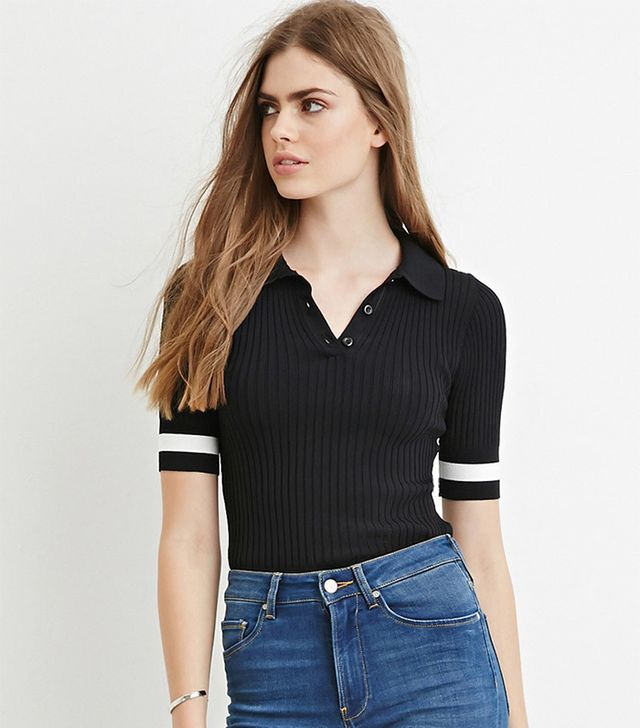 Forever 21 Contemporary Ribbed Knit Polo