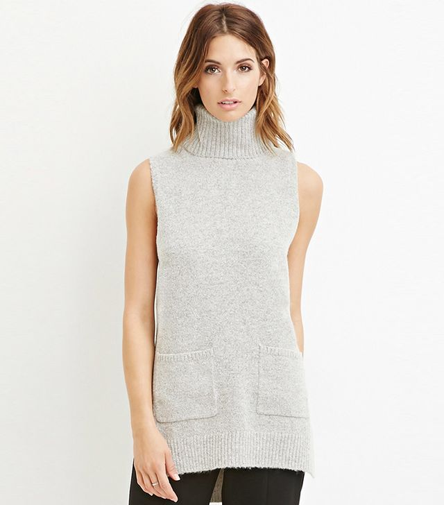 Forever 21 Contemporary Heathered Longline Turtleneck