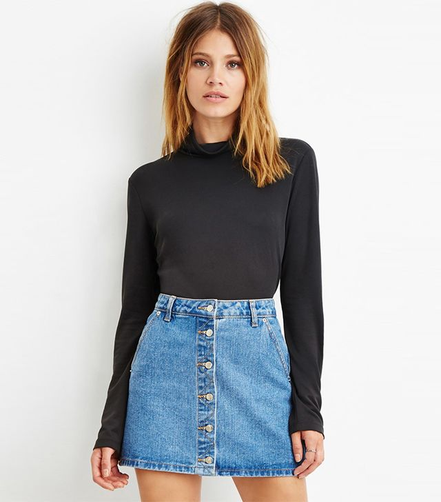 Forever 21 Contemporary Buttoned-Turtleneck Top