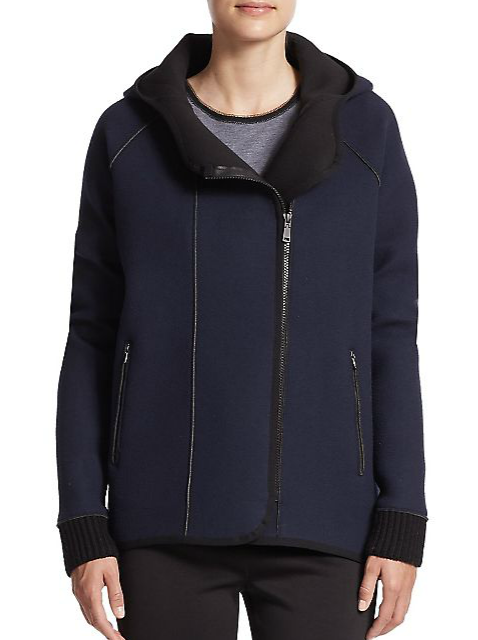Elie Tahari Margie Hooded Zip-Front Jacket