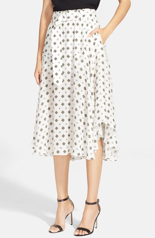 A.L.C. Leto Print Silk Skirt