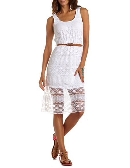 Charlotte Russe  Belted Floral Lace Tank Dress