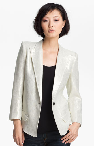 Smythe Metallic Coated Linen Blazer
