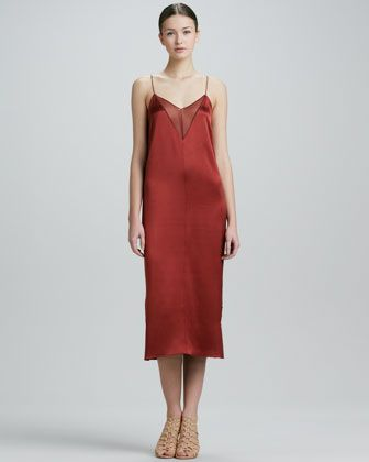 Adam Lippes  Sheer-Inset Silk Satin Slip Dress