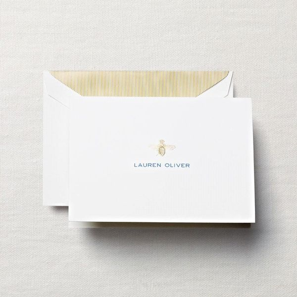 Crane & Co. Engraved Pearl White Note with Motif