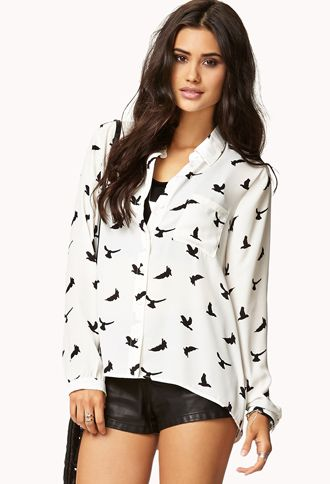 Forever 21  Girly Bird Print Shirt