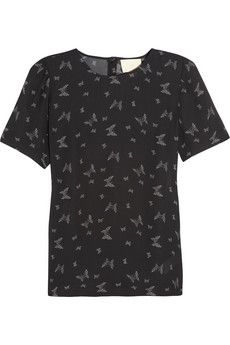 Band of Outsiders  Butterfly-Print Silk Top