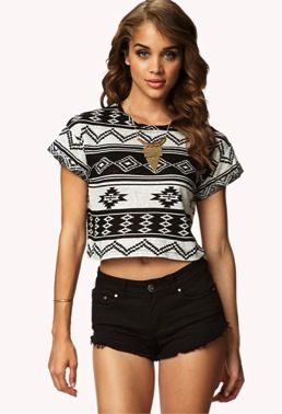 Forever 21  Tribal Print Cropped Tee