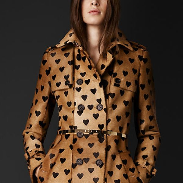 Burberry Prorsum Heart Print Calfskin Trench Coat