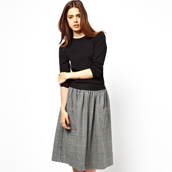 ASOS Midi Skirt In Tweed Check With Pockets