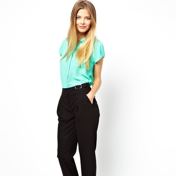 ASOS Peg Pants with Side Buckle Detail