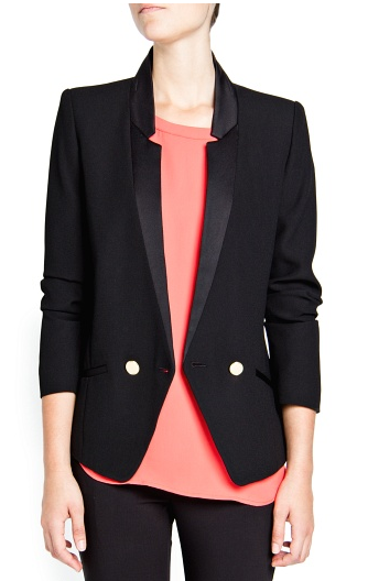 Mango Crepe Double-Breasted Blazer