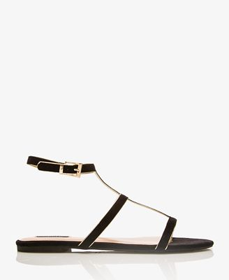Forever 21  Metallic-Trimmed Gladiator Sandals