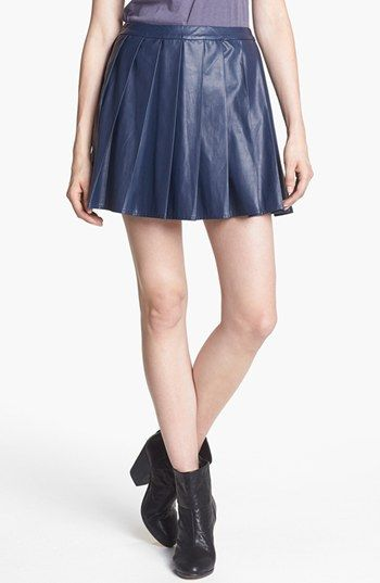 Astr  Pleated Faux Leather Skirt