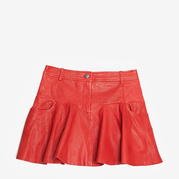 Thakoon Addition  Red Leather A-Line Skirt