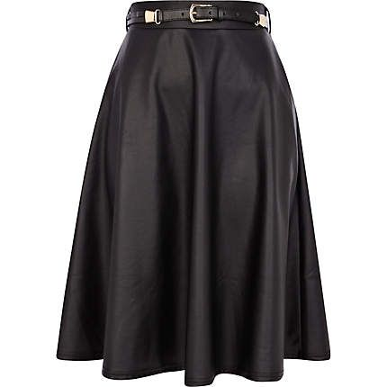River Island  Black Coated Belted Full Skirt