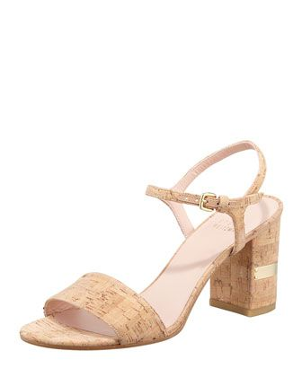 Stuart Weitzman  Solo Cork Heel Sandal
