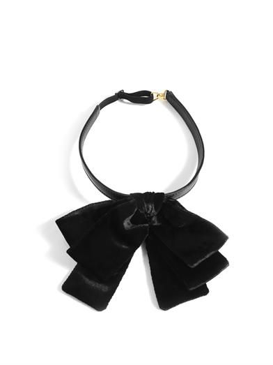 Saint Laurent Velvet Bow Neck Tie