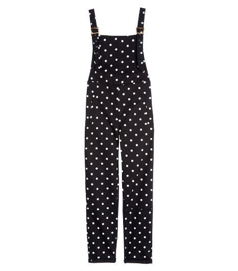 No need to stick to solids; mix it up with a pair of polka-dot coveralls.