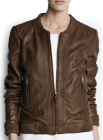 Mango Mango Leather Bomber Jacket