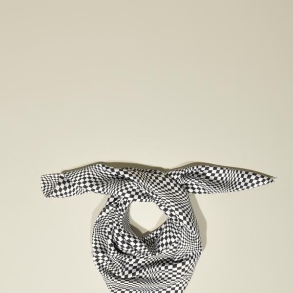 J.W. Anderson  Black & White Geometric Silk Scarf