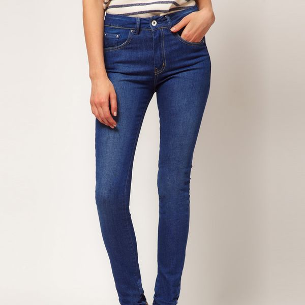 ASOS  High Waist Skinny Jeans in Vintage True Blue