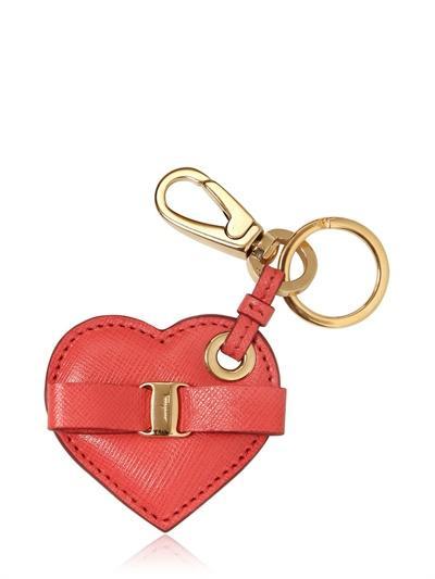 Salvatore Ferragamo Heart Saffiano Leather Key Holder