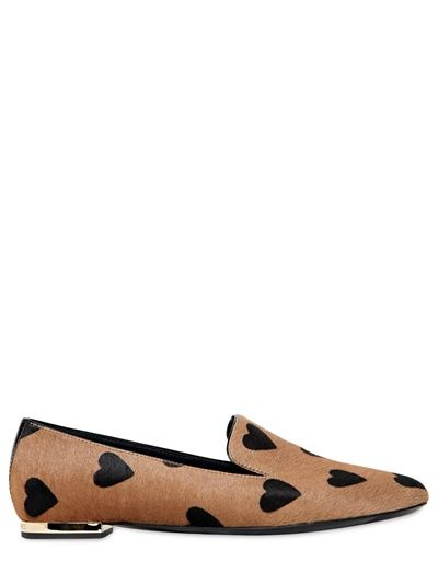 Burberry Prorsum 10MM Heart Printed Ponyskin Loafers