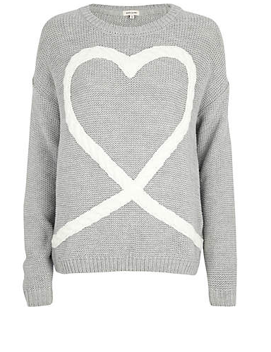 River Island Cable Heart Sweater