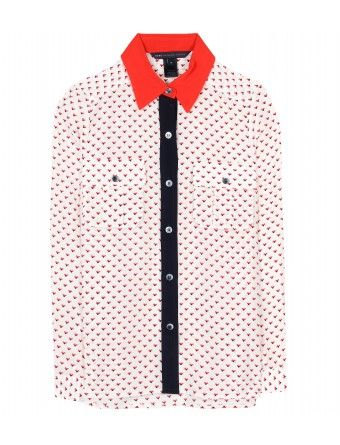 Marc by Marc Jacobs Vive Heart-Print Silk Shirt
