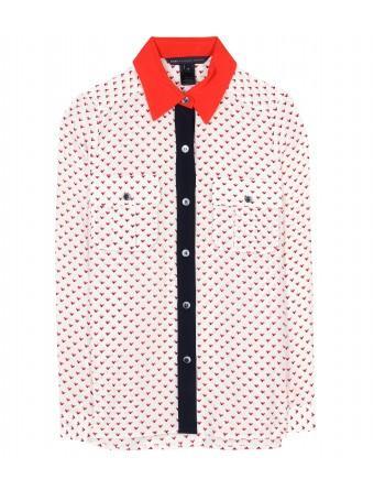 Marc by Marc Jacobs Vive Heart-Print Silk Shirt
