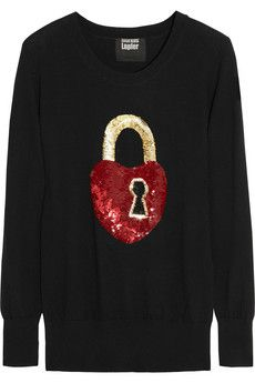 Markus Lupfer Key To My Heart Sequined Merino Wool Sweater