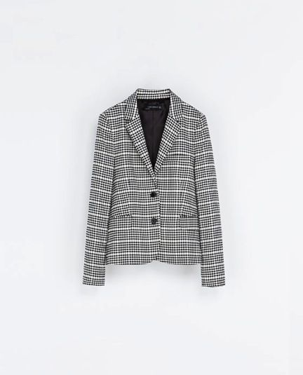 Zara  Two-Tone Checked Jacket