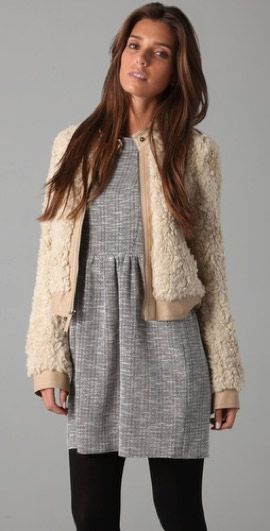 Rebecca Taylor  Style Stalker Rebecca Taylor Cream Faux Fur Bomber Jacket