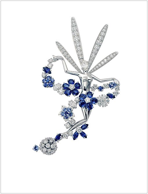 Folie des Pres Diamond and Blue Sapphire Clip Set (Price Upon Request, 1.877.VANCLEEF) in 18K White Gold In addition to animals and plants, fairies are a Van Cleef & Arpels staple, signifying...